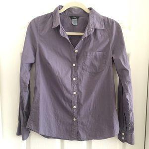 J Crew Woman's cotton button up. Muted purple sz 2